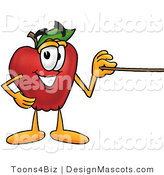 Clipart of a Red Apple Character Mascot Using a Pointer Stick - Royalty Free by Toons4Biz
