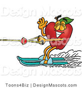 Clipart of a Red Apple Character Mascot Waving - Royalty Free by Toons4Biz