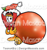 Clipart of a Red Apple Character Mascot Wearing a Santa Hat - Royalty Free by Toons4Biz