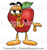 Clipart of a Red Apple Character Mascot Whispering - Royalty Free by Toons4Biz