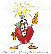 Clipart of a Red Apple Character Mascot with a Bright Idea - Royalty Free by Toons4Biz