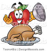 Clipart of a Red Apple Character Mascot with a Cooked Thanksgiving Turkey - Royalty Free by Toons4Biz