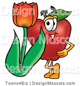 Clipart of a Red Apple Character Mascot with Flower - Royalty Free by Toons4Biz