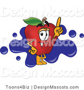 Clipart of a Red Apple with Finger - Royalty Free by Toons4Biz