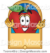 Clipart of a Red Apple with Hands in the Air - Royalty Free by Toons4Biz