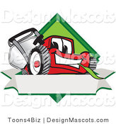 Clipart of a Red Lawn Mower Mascot Blank Banner - Royalty Free by Toons4Biz