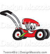 Clipart of a Red Lawn Mower Mascot Chewing on a Blade of Grass - Royalty Free by Toons4Biz