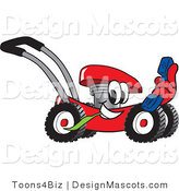 Clipart of a Red Lawn Mower Mascot Holding a Blue Telephone - Royalty Free by Toons4Biz