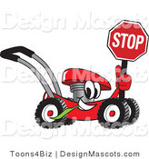 Clipart of a Red Lawn Mower Mascot Holding a Stop Sign - Royalty Free by Toons4Biz