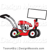 Clipart of a Red Lawn Mower Mascot Holding up a Blank Sing - Royalty Free by Toons4Biz