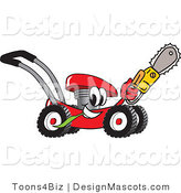 Clipart of a Red Lawn Mower Mascot Holding up a Saw - Royalty Free by Toons4Biz