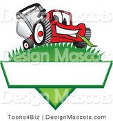 Clipart of a Red Lawn Mower Mascot on a Blank Label - Royalty Free by Toons4Biz
