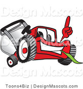 Clipart of a Red Lawn Mower Mascot Pointing - Royalty Free by Toons4Biz