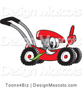 Clipart of a Red Lawn Mower Mascot Pointing up - Royalty Free by Toons4Biz