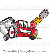 Clipart of a Red Lawn Mower Mascot - Royalty Free by Toons4Biz