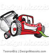 Clipart of a Red Lawn Mower Mascot Smiling - Royalty Free by Toons4Biz