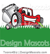 Clipart of a Red Lawn Mower Mascot Smiling While Mowing Grass - Royalty Free by Toons4Biz