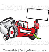 Clipart of a Red Lawn Mower Mascot Waving a Sign - Royalty Free by Toons4Biz