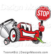 Clipart of a Red Lawn Mower Mascot Waving a Stop Sign - Royalty Free by Toons4Biz