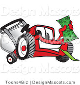 Clipart of a Red Lawn Mower Mascot Waving Cash - Royalty Free by Toons4Biz