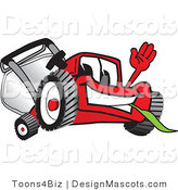 Clipart of a Red Lawn Mower Mascot Waving - Royalty Free by Toons4Biz