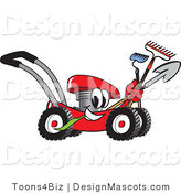 Clipart of a Red Lawn Mower Mascot with a Hoe, Rake and Shovel - Royalty Free by Toons4Biz