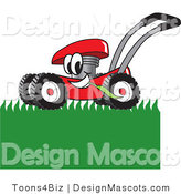 Clipart of a Red Lawn Mower Mowing Grass - Royalty Free by Toons4Biz