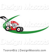 Clipart of a Red Lawn Mower - Royalty Free by Toons4Biz