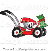 Clipart of a Red Mower Holding Cash - Royalty Free by Toons4Biz