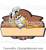 Clipart of a Relaxed Chefs Hat Mascot Cartoon Character Resting over a Blank Brown Label - Royalty Free by Toons4Biz