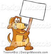 Clipart of a - Royalty FreeBrown Dog Mascot Cartoon Character Holding a Blank White Sign by Toons4Biz