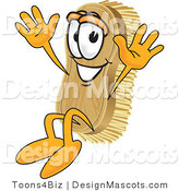 Clipart of a Scrub Brush Mascot Jumping - Royalty Free by Toons4Biz