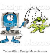 Clipart of a Shocked Desktop - Royalty Free by Toons4Biz