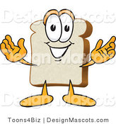 Clipart of a White Bread Food Mascot with Arms Open - Royalty Free by Toons4Biz