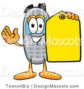 Clipart of a Wireless Cellular Holding a Yellow Sales Price Tag - Royalty Free by Toons4Biz