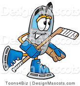 Clipart of a Wireless Playing Ice Hockey - Royalty Free by Toons4Biz