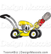 Clipart of a Yellow Lawn Mower Carrying a Saw - Royalty Free by Toons4Biz