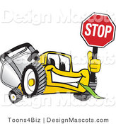 Clipart of a Yellow Lawn Mower Cartoon - Royalty Free by Toons4Biz