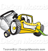 Clipart of a Yellow Lawn Mower Chewing on Grass - Royalty Free by Toons4Biz