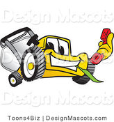 Clipart of a Yellow Lawn Mower Chwing on Grass - Royalty Free by Toons4Biz