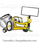 Clipart of a Yellow Lawn Mower Holding a Sign - Royalty Free by Toons4Biz