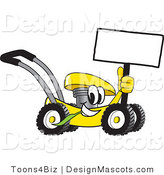 Clipart of a Yellow Lawn Mower Mascot Cartoon Passing by - Royalty Free by Toons4Biz