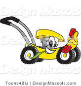 Clipart of a Yellow Lawn Mower Mascot Cartoon - Royalty Free by Toons4Biz