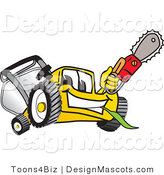 Clipart of a Yellow Lawn Mower Mascot Holding up a Saw - Royalty Free by Toons4Biz