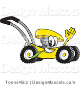 Clipart of a Yellow Lawn Mower Mascot - Royalty Free by Toons4Biz