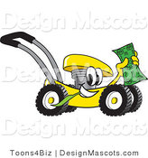 Clipart of a Yellow Lawn Mower Mascot Waving Cash - Royalty Free by Toons4Biz