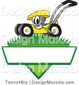 Clipart of a Yellow Lawn Mower - Royalty Free by Toons4Biz
