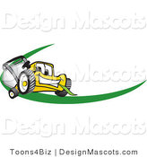Clipart of a Yellow Mower with a Green Swoosh - Royalty Free by Toons4Biz