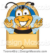 Clipart of ABee Mascot Cartoon Character on a Blank Tan Label - Royalty Free by Toons4Biz