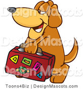 Clipart of ABrown Dog Mascot Cartoon Character Carrying Luggage - Royalty Free by Toons4Biz
